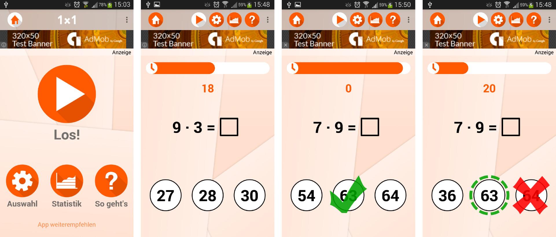 Screenshots 1: Startbildschirm und Rechenaufgaben