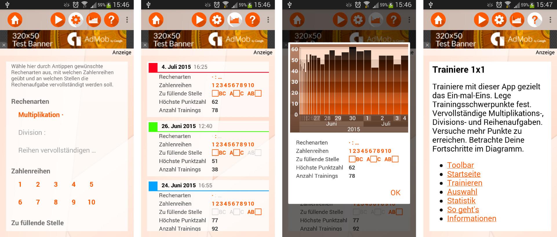 Screenshots 2: Aufgabenauswahl, Statistik, Diagram und integrierte Hilfe