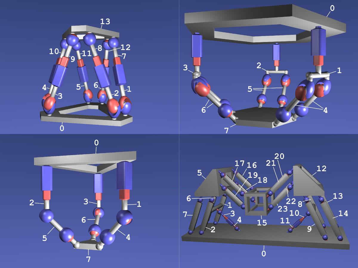 Simulierte Parallelroboter: Hexapod, 2x Tripod und Phantasiestruktur