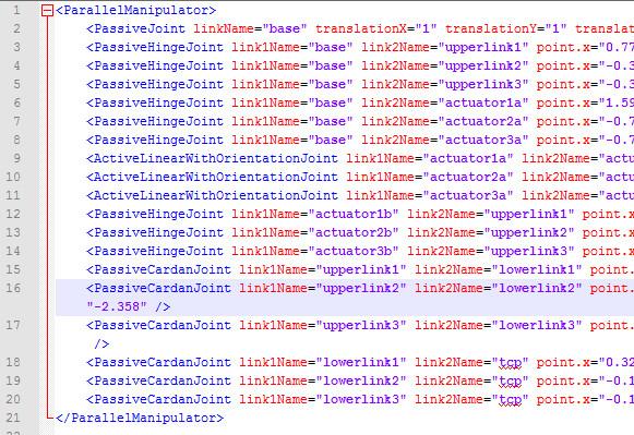 Spezifikation eines Parallelroboters mittels XML
